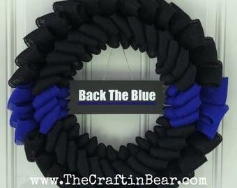 Police wreath - Thin Blue Line wreath - Police Officer wreath - Back the blue wreath - Law Enforcement wreath - officer appreciation