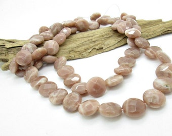 Faceted Sunstone Coin Beads, Mauve Sunstone Round, 12mm (10)