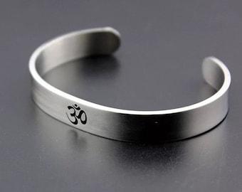 Mens/womens Om/Ohm/Aum stainless steel adjustable silver cuff bangle bracelet