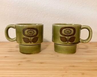 Vintage Olive Green Mugs. Vintage Mid-Century Ceramic Mugs. Vintage 1960's Mug Set. Olive Green Floral Mug Set.