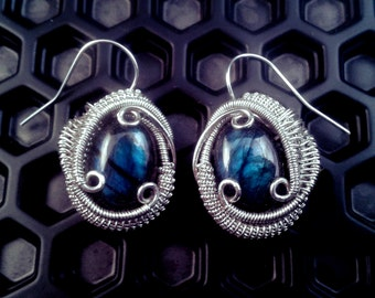 Labradorite Wire Wrapped Silver Earrings