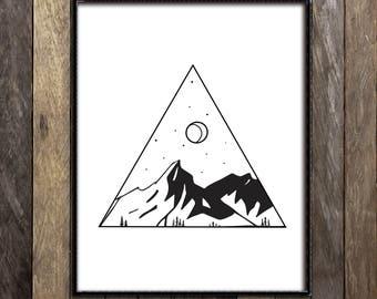 White Wall Art mountain wall art | etsy