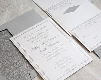 Glitter Wedding Invitation, Grey Wedding invitation, Script Wedding Invitation, DEPOSIT to get started