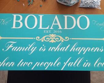 Last Name EST Family Love Custom Wood Sign