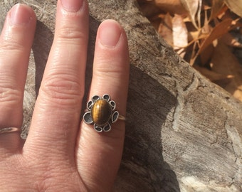 Native American Tigers eye sterling silver ring