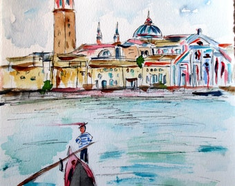 Venezia / original watercolor / d'amore / Italy 2015,