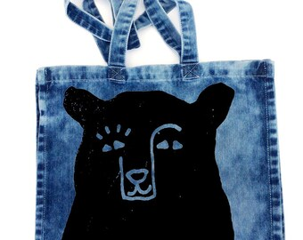 "Bear Bear Tote Bag, Ready to Ship, 15.5""x15.5"", Acid Wash Denim, Black Bear, Camp Bag, Beach Bag, School Bag, Travel Bag, Diaper Bag, Tote"