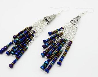 Drop Earrings, Blue Red Black Earrings, Dangle Earrings, Long Earrings, Blue Earrings, Boho Earrings, Statement Earrings