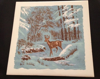 Ceramic Tile Deer in Winter Screen Craft