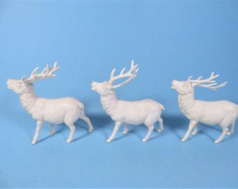 Mid Century Set of 3 Celluloid Reindeer - Three Vintage Celluloid Plastic Reindeer Ornaments