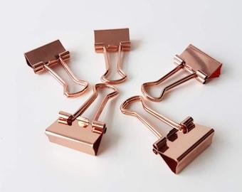 Set of 5 Binder Clips in Rose Gold