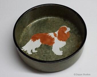 Hand Painted Ceramic Dog Bowl - Cavalier King Charles Spaniel