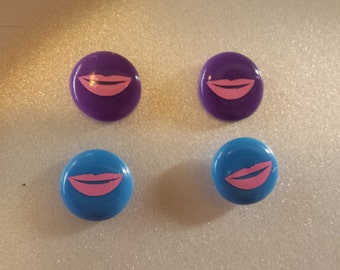 Pink Lips on Button Style Pierced Earrings