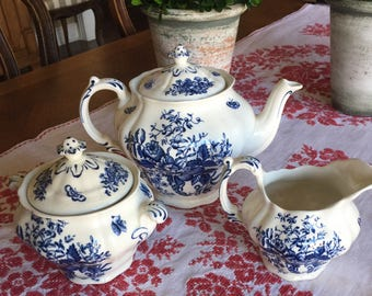 Vintage Booth's Peony Tea Pot, Creamer and Sugar Bowl