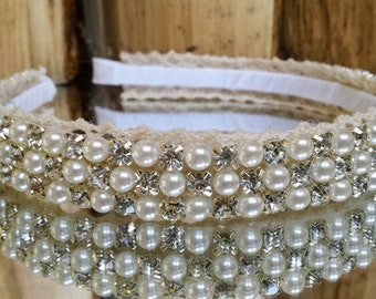 Wide Pearl and Rhinestone Bridal Headpiece; Affordable Bridal Headpieces; Pearl and Rhinestone Headpiece; Prom Headpiece; Prom Headband