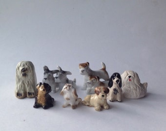 Collection of 8 Miniature Dog Figurines, Terriers, Spaniels, Small dogs. Dog Lovers Gift
