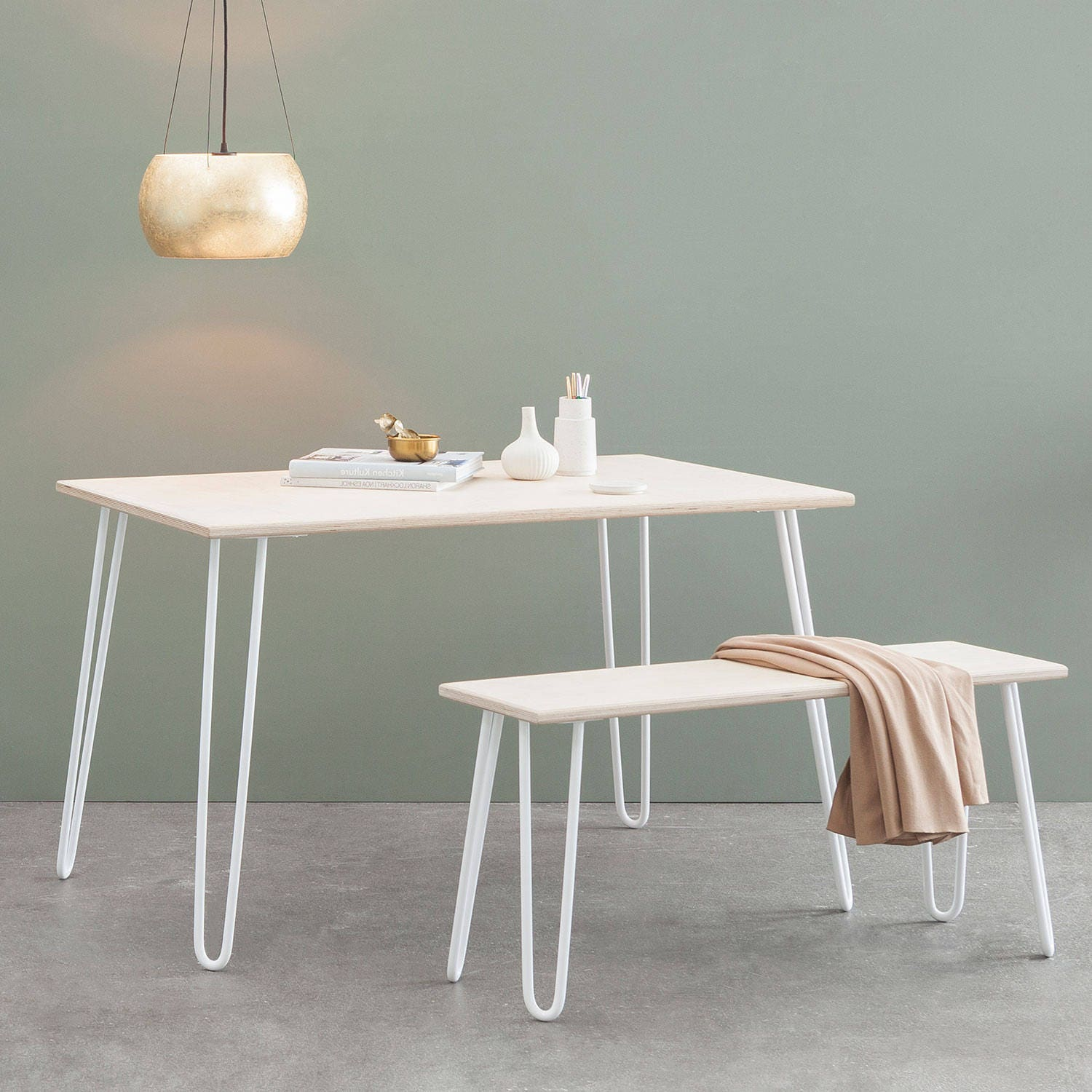 Dining table birch plywood hairpin legs eames mid century for Plywood table hairpin legs