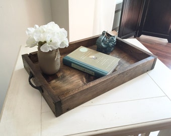 Rustic Wooden Ottoman Tray   Decorative Tray   Coffee Table Tray    Farmhouse Decor   Wooden
