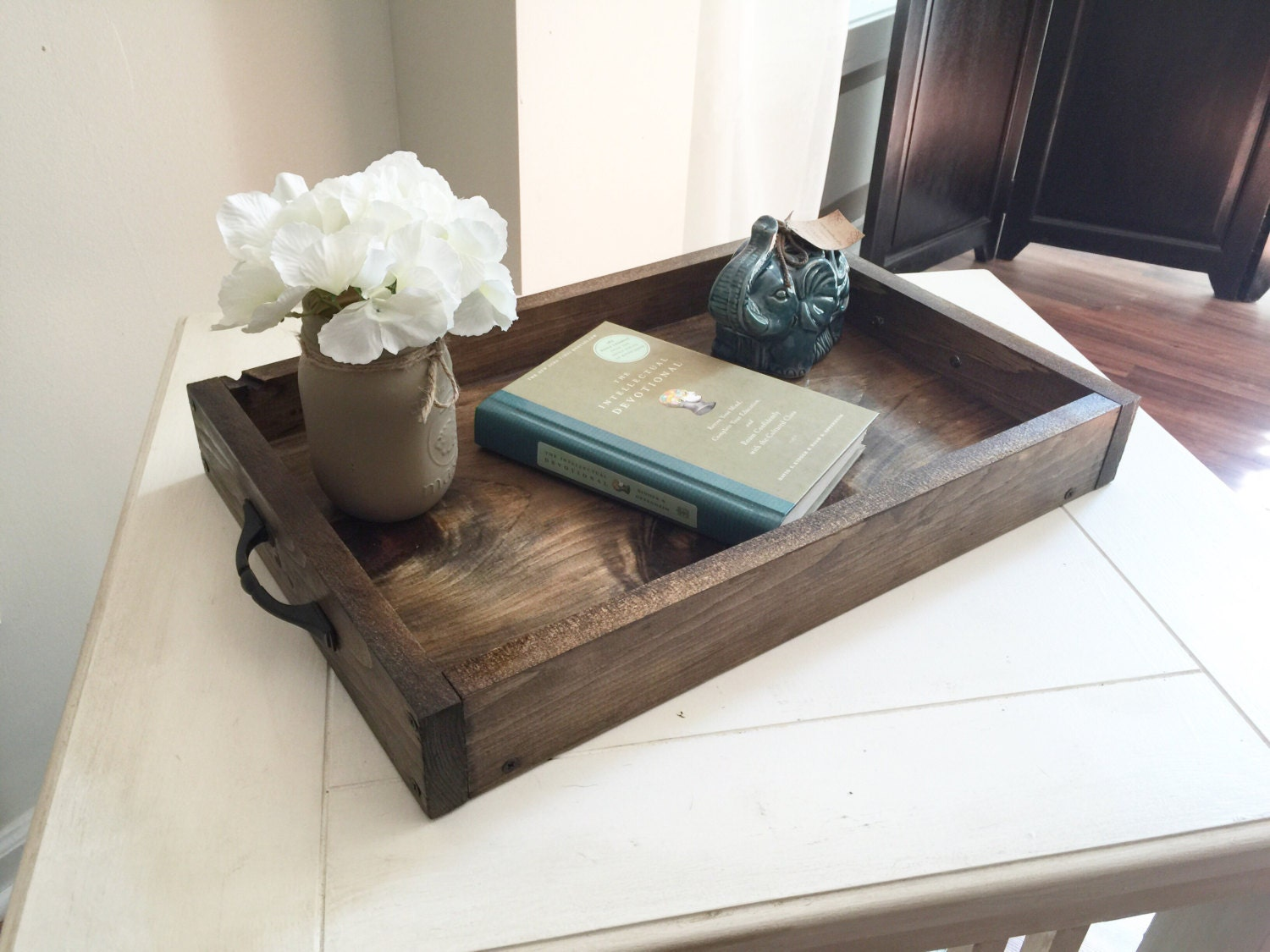 Rustic wooden ottoman tray decorative tray coffee table Decorative trays for coffee table