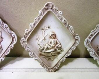 Plaques Lefton Hand Painted Porcelain Vintage set of 3 blm