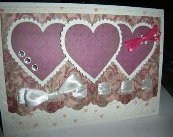 5x7 Purple Vintage Trio Heart Handcrafted card