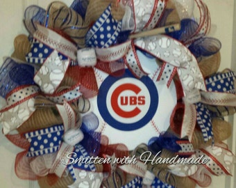 Chicago Cubs Wreath, Cubs Baseball Wreath, Cubs Wreath, Chicago Cubs, Baseball Wreath, Chicago Cubs Door Wreath
