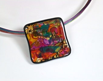 "Polymer Clay Pendant, Necklace, Handcrafted, OOAK, ""In Living Color I"" Series"