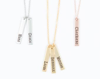 Mom Necklace - Kids Name Necklace - Baby Name Vertical Bar Necklace - Personalized Gold, Rose Gold, Silver Bar Necklace, Grandma Necklace
