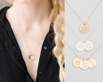 Mother's Day Gift, Mom Initial Necklace, Mommy Grandma Necklace, Kids Initials Necklace, Gift for Mother, Personalized Disc Necklace