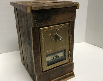 Vintage Post Office Box  Door Bank with Key Lock- Wood Lathe and Pine- Brass coin slot