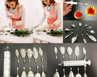 3D Jelly Art Tools and 1 Pieces Syringes Jelly Cake Jello Art Gelatin Tools Puding Nozzle Leaves