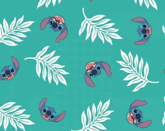 Turquoise Lilo & Stitch Palm Leaves Cotton Woven Fabrics by Camelot Fabrics