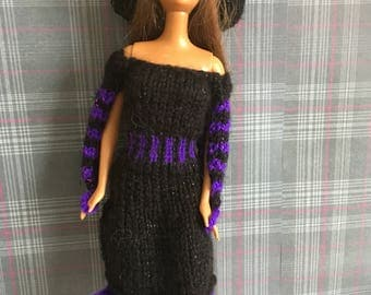 Hand Knitted Witch Outfit for Barbie/Similar Fashion Doll - One of a Kind
