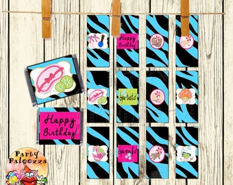 Printable Birthday spa Mini Candy Bar Wrappers