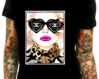 Chanel sunglasses inspired t shirt M-L
