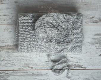 Newborn Mohair Wrap & Bonnet * Fog * Gray * Photo Prop * Newborn Layer * Newborn Bonnet *