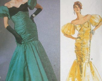 VOGUE 1819 Bellville Sassoon Off-Shoulder Gown Size 8 Ruched Mermaid Designer Gown Sewing Pattern ©1986 OOP UNCUT