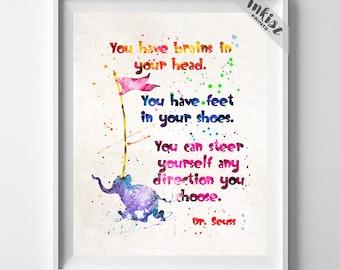 Doctor Seuss, Dr. Seuss Print, Doctor Seuss Art, Seuss Watercolor, Wall Art, Nursery Posters, Artwork, Dorm Decor, Type 4, Christmas Gift