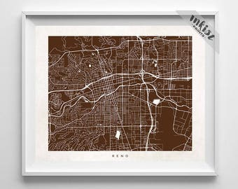 Reno Map, Nevada Print, Reno Poster, Nevada Art, Dorm Decor, Home Decor, Playroom Wall Art, Dorm Room Art, Street Art, 4th of July