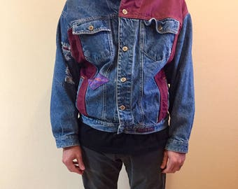 Vintage color block GINO VENUCCI COMPANY denim jacket // sizeXL