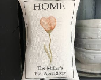 Personalized pillow, door knob pillow, hanging pillow, shelf pillow, basket filler pillow, farmhouse style pillow, simple design door pillow