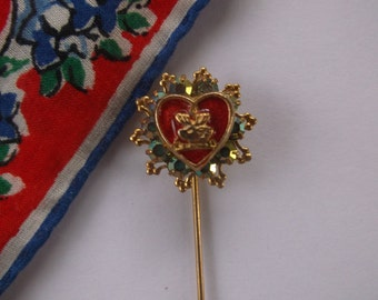 Vintage Moose Pin, Hat Pin, Ladies Moose Red Enamel Pin Surrounded by 10 Aurora Borealis Iridescent Stones, Very Pretty! Fraternal Moose Pin