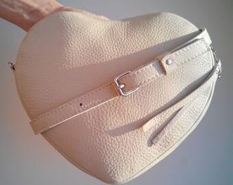 "White Crossbody Bag "" Heart"", Shoulder Bag, genuine leather, white leather bag, leather bag, crossbody bag."