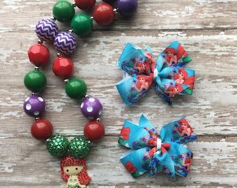 Little Mermaid Bow - Ariel Hair Bow - Little Mermaid Birthday - Littlw Mermaid Necklace - Little amermaid Outfit