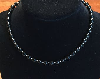 Black Onyx and Silver Choker