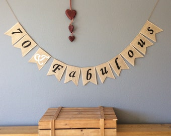 70th Birthday Bunting Banner Hessian Burlap Rustic