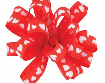"""5/8"""" Wired Heart Red Ribbon - 10 Yards"""