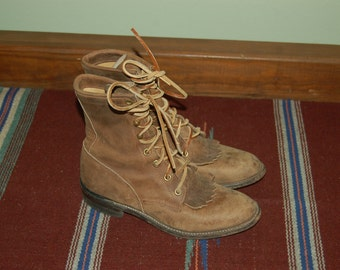 Women Size 6 Vintage Justin Rustic Brown Leather Roper Boots
