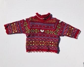 Vintage 90's Red Baby Girl Sweater with Collar Size 6-9 Months