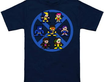 X-MEN BLUE TEAM Shirt 8-Bit Mega Man Mashup Tshirt Wolverine Cyclops Gambit Beast Psylocke Rogue Jubilee 90's Cartoon Marvel Comics Jim Lee